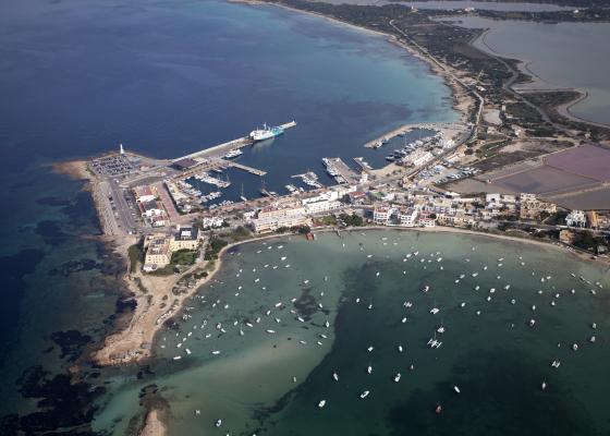 Vista aérea del puerto de la Savina
